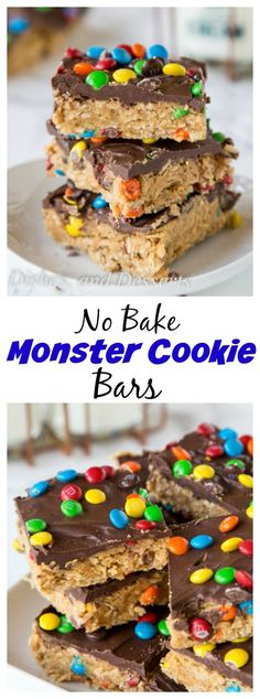 Monster Cookie No Bake Bars – all the flavors of classic monster cookies in a super easy no bake bar recipe.  No heating up the oven to make these!: