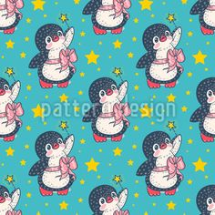 Penguin Fairy Seamless Pattern by Marina Zakharova at patterndesigns.com Vector Pattern, Pattern Design, Cute Penguins, Fairy Tales, Snoopy, Fantasy, Animals, Fictional Characters, Patterns