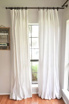 How to Make DIY No-Sew Bleached Drop Cloth Curtains without making your house smell like a pool. This method uses a bleach solution and a vinegar solution outside! You will finish bleaching your drop cloths in the washing machine for a gorgeous, soft, tex Drop Cloth Curtains, White Curtains, Diy Curtains, Sewing Curtains, Custom Curtains, Bed Sheet Curtains, Homemade Curtains, Curtains Or No Curtains, Sun Blocking Curtains