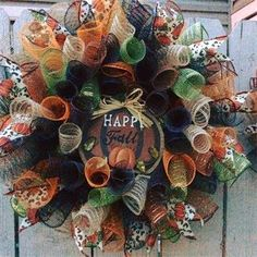 "NEW 2015. 20"", 'Happy Fall' Pumpkin Spiral Mesh Wreath in Orange, Olive Green, Black, Copper Orange, Brown & Tan Burlap with Pumpkin Cheetah Ribbon: $40 Made by Red-y Made Wreaths. Like & Follow us on Facebook https://www.facebook.com/pages/Red-y-Made-Wreaths/193750437415618 or Visit us at http://www.redymadewreaths.com/"