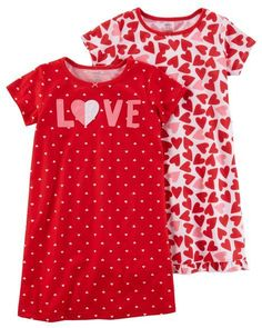 Crafted in breezy lightweight jersey, these printed sleep gowns feature sweet satin bows and heart graphics. Little Girl Outfits, Cute Girl Outfits, Little Girl Fashion, Toddler Outfits, Kids Outfits, Carters Baby Clothes, Baby Kids Clothes, Toddler Pajamas, Girls Pajamas