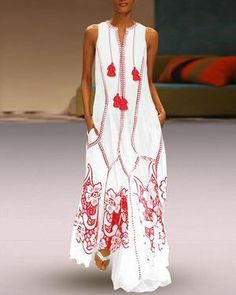 Chinese-Style Printed Cotton And Linen Casual Dress Floral Maxi Dress Casual Maxi Dresses Floral Plus Size Dresses, White Maxi Dresses, Maxi Dress With Sleeves, Linen Dresses, Casual Dresses, Summer Dresses, Vacation Dresses, Fall Dresses, Dress Red