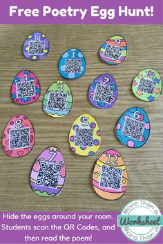 """A fun poetry freebie, great for Easter which happens to be right before poetry month this year! Hide the eggs around your class or school. Students scan the QR codes, and then it takes them to a website with the poem. This is a fun way to practice fluency, and is great for all of the bonus energy students have right before Spring Break! The poems are """"real"""" poems from various poets, and are perfect for grades 3-5. Free from More Than a Worksheet"""