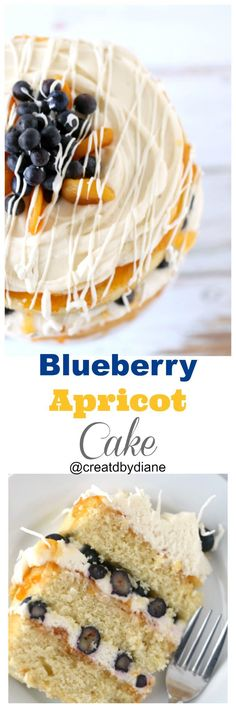 fresh tasting cake that is fruity and fresh. Layers of cake with cream cheese frosting with blueberries and apricot jam with a drizzle of white chocolate