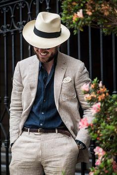 Linen Suit plus Panama Hat. #linensuit #panamahat | Zig Zag Tie ...