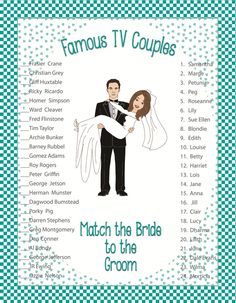 "Bridal Shower Game  ""Famous TV Couples"""