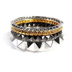 Multi Pyramid Stack Bracelet Set  by nOir Jewelry