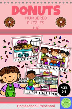 This Donuts Numbered Puzzles 1-10 is the perfect addition for Math Centers for homeschool and preschool curriculum. This time saving, counting resource is engaging with its vibrant pictures! Your 2-6 year olds will enjoy learning about Donuts and counting from 1 to 10 with this interactive number lesson. Numbers Preschool, Preschool Curriculum, Learning Numbers, Preschool Math, Homeschool, Number Puzzles, Number Activities, Activity Centers, Math Centers