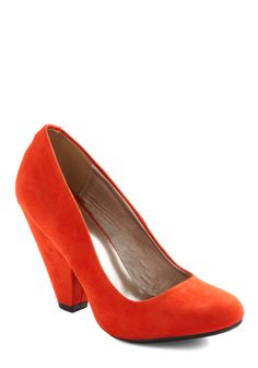 Everyday Energy Heel in Orange - Orange, Solid, High, Chunky heel, Work, Vintage Inspired, Faux Leather, Top Rated