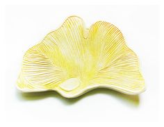 Ceramic Ginkgo Leaf Pastel Yellow - BlueFlowerPottery