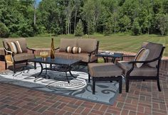 The Moncler Collection 6-Piece All Welded Cast Aluminum Outdoor Furniture with Ottoman & Coffee Table . $3237.65