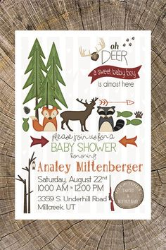 outdoor baby shower invitation hunting camping animals critters