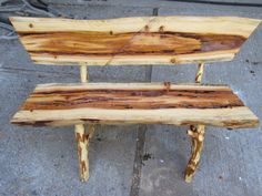 Log bench made from beetle kill pine.