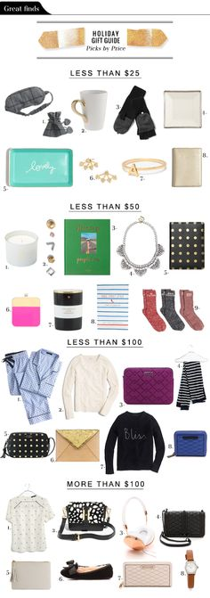 Holiday Gift Ideas by Price #holiday #gifts