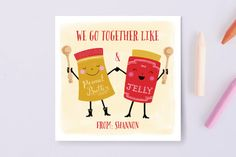 Peanut Butter And Jelly Love Classroom Valentine's Cards by Louise Anglicas at minted.com