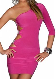 Smile YKK Women's Mini One Shoulder Bodycon Dress Pink Cut Out Rhinestones. GOGO Sexy One Arm Mini Club Dress Pink. Fantastic one-arm mini dress in tight-fitting shape! Links with 3/4 long sleeves that is gathered at the fashionable shoulder! Sexy cutouts with glamorous ribbon-Raff in Strass-look at the top of the right side seam!. Size: Bust 86-95cm Waist 58-70cm Hip 90-100cm Length 83cm.