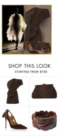 """""""Chocolate Suede"""" by michelletheaflack ❤ liked on Polyvore featuring Jacquemus, STELLA McCARTNEY, Aquazzura, Yves Saint Laurent and brown"""