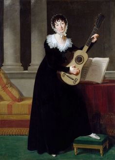 A lady playing her guitar? Pauline Duchambge (1778-1858), painting by Robert Lefèvre (1755 - 1830)