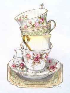 Shop Kitchen Tea Time Tea Towel created by Radenbrea. Tea Cup Art, Tea Cups, Shabby Chic, Teapots And Cups, Decoupage Paper, Anime Comics, My Tea, Retro, Vintage Images