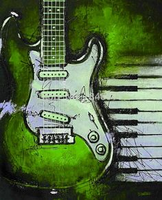 Green - modern canvas vintage abstract decorative music still life guitar oil painting on canvas for living room home decoration - http://www.aliexpress.com