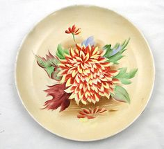 Norcrest Hand Painted Chrysanthemum Floral Plate