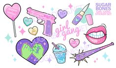 ♥ GIRL GANG ♥ ♥ This pull and peel sheet features 12 illustrated stickers, and 11 smaller, decorative sparkle stickers! ♥ Sheet measures ♥ Stickers range from as large as and as small as ♥ Printed on glossy, high quality sticker paper! Not waterproof. Doodle Tattoo, Tattoo Drawings, Cute Drawings, Girly Tattoos, Cute Tattoos, Small Tattoos, Girl Gang Aesthetic, Pink Aesthetic, Stickers
