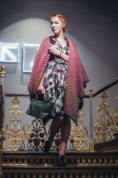 Dress/Zuzana Vesela poncho/UnitedColoursOfBeneton purse/vintage shoes/ZARA bracelet/Trollbeads
