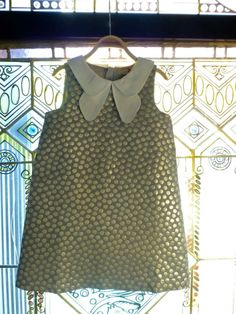 The signature double collar dress from Hucklebones is in a metallic spot fabric for summer 2014