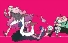Donquixote family - Trafalgar D. Water Law, Baby 5, Buffalo, Dellinger, Donquixote Doflamingo, and Donquixote Rocinante (Corazon) (Corasan, Cora-san) One piece art pink