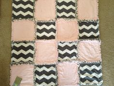 PInk and Grey Chevron Baby Girl Rag Quilt by MalnJam on Etsy