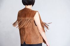 Brown suede vest with fringes by RoaringRetro on Etsy, $55.00