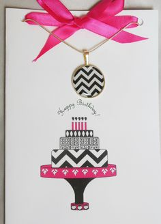 Love this chevron Birthday Card for my on trend girlfriends!  Explore more stylish card/ necklace sets on the Girl Power Cards site. Cute Jewelry, Jewelry Gifts, Jewellery, Birthday Pins, Birthday Wishes, Chevron Cakes, Chevron Birthday, Happy Birthday Greeting Card, Creative Cards