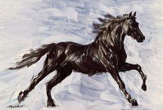Running Horse Digital Art  - Running Horse Fine Art Print