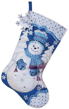 Snowflake Snowman Bucilla Felt Christmas Stocking Pop Up