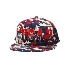 ee6bf508196 TopTie Stylish Flat Bill Cap Hat With USA Flag Underbill-Red