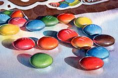 M candy still life watercolor painting by Barbara Fox