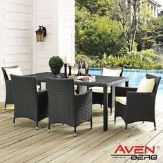 Sojourn Outdoor Dining Set with Sunbrella Fabric - Gray - Modway Outdoor Dining Set, Patio Dining, Outdoor Furniture Sets, Dining Table, Outdoor Decor, Zinc Table, Dining Arm Chair, Sunbrella Fabric, Furniture Hardware