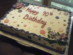 Birthday sheet cake Decorated with marshmallow fondant flowers and polka dots