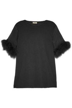 CLU Faux fur and silk organza-trimmed cotton and modal-blend top. #clu #cloth #tops
