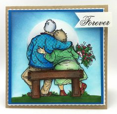 images penny black tom and tilly Penny Black Karten, Penny Black Cards, Couples Âgés, Valentines Card For Husband, Art Impressions Stamps, Mo Manning, Card Sentiments, Funny Cards, Copics