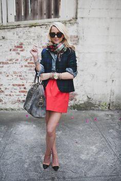 Blackwatch plaid blazer, tartan plaid scarf, red skirt and chambray shirt.  AWESOME!