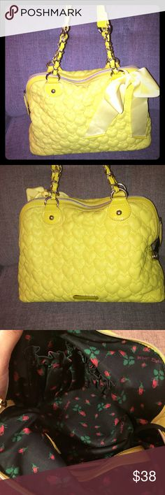Large bright yellow betsey  Jonson purse Super bright and fun yellow betsey Jonson purse. In great condition. I love it, just doesn't get any love in my house. Betsey Johnson Bags Shoulder Bags