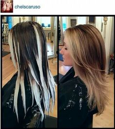Baylayage. Highest concentration of highlights in the front, darkest in the back and bottom layer.