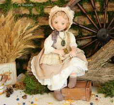 Купить Любушка текстильная авторская коллекционная кукла в подарок - бежевый, art doll