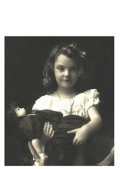 Antique doll & girl