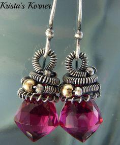 Rubelite Pink Quartz Gemstone and Sterling Silver by kristaskorner, $47.00