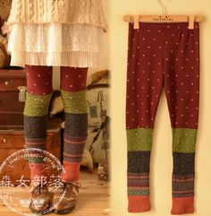 New Women Dot Patchwork Casual Leggings Thin Spring Ankle Length Long Trousers Elastic Waist Cute Japanese Mori Girl sold by DREAMWORLD. Shop more products from DREAMWORLD on Storenvy, the home of independent small businesses all over the world.