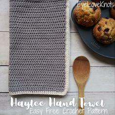 Haylee Hand Towel - Free Crochet Pattern - EyeLoveKnots Cotton Crochet Patterns, Crochet Stitches, Crochet Hooks, Crochet Towel, All Free Crochet, Beginner Crochet, Crochet Ideas, Crochet Projects, Beautiful Textures