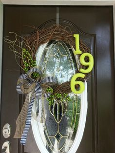 Pinspired! Front door wreath with house number! :0)