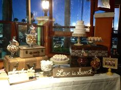 Vintage Candy Buffet/Wedding Candy Buffet/Candy Bar/Rustic Candy Bar www.sweetsugarland.com